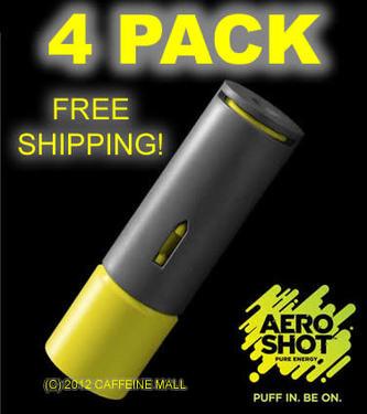 Aero Shot Pure Energy Inhalable Caffeine Shots AeroShot Breathable Inhaler LIME (4 pack)