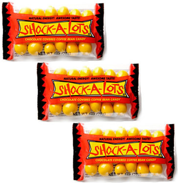 Shock-A-Lots Chocolate Covered Coffee Beans Caffeinated Energy Candy (3 Bags)