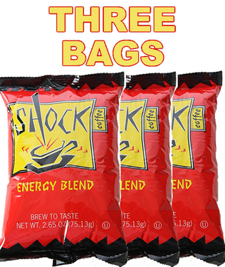 Shock Hyper Caffeinated Coffee with 50% More Caffeine (3 x 2.65 oz Ground Portion Packs)