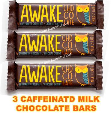 Awake Caffeinated Milk Chocolate Energy bar with Caffeine (3 Bars)