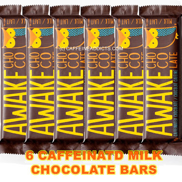 Awake Caffeinated Milk Chocolate Energy bar with Caffeine (6 Bars)