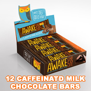 Awake Caffeinated Milk Chocolate Energy bar with Caffeine (12 Bars/Case)