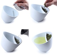 Magisso Tipping Teacup White - Tilting Tea Cup Infuser Strainer In Mug