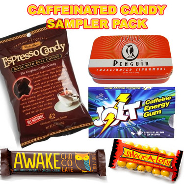 Caffeine Candy Sampler - Caffeinated Jolt Gum, Cinnamon Mints, Milk Chocolate Bar, Coffee Beans & Espresso Candy