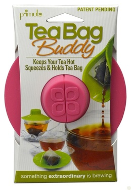 Tea Bag Buddy - Silicone Cup Cover - Keep Hot, Secure, Squeezer & Holder (PINK)