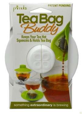 Tea Bag Buddy - Silicone Cup Cover - Keep Hot, Secure, Squeezer & Holder (WHITE)
