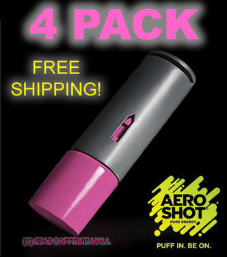 Aero Shot Pure Energy Inhalable Caffeine Shots AeroShot Breathable Inhaler RASPBERRY (4 pack)