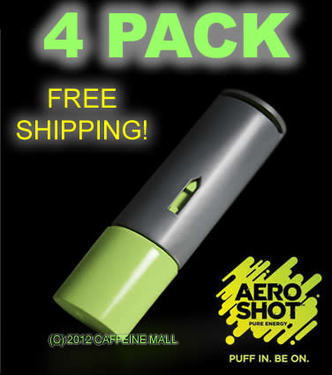 Aero Shot Pure Energy Inhalable Caffeine Shots AeroShot Breathable Inhaler APPLE (4 pack)