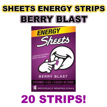 Sheets Energy Strips Caffeine Strip Dissolves on Tongue  - Berry Blast