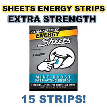 Sheets Energy Strips Caffeine Strip Dissolves on Tongue  - Extra Strength Mint
