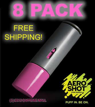 Aero Shot Pure Energy Inhalable Caffeine Shots AeroShot Breathable Inhaler RASPBERRY (8 pack)