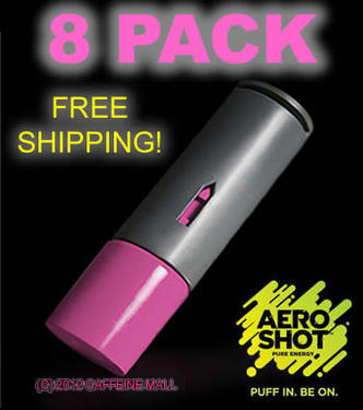 Aero Shot Pure Energy Inhalable Caffeine Shots AeroShot Breathable Inhaler RASPBERRY (8 pack)