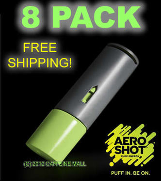 Aero Shot Pure Energy Inhalable Caffeine Shots AeroShot Breathable Inhaler GREEN APPLE (8 pack)
