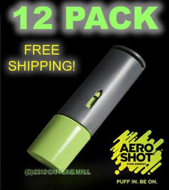 Aero Shot Pure Energy Inhalable Caffeine Shots AeroShot Breathable Inhaler GREEN APPLE (12 pack)