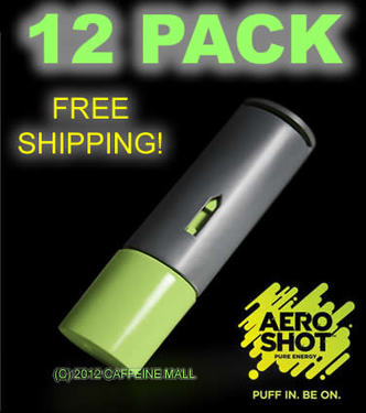 Aero Shot Pure Energy Inhalable Caffeine Shots AeroShot Breathable Inhaler GREEN APPLE (12 pack)