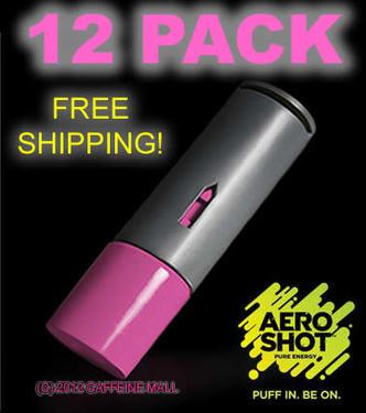 Aero Shot Pure Energy Inhalable Caffeine Shots AeroShot Breathable Inhaler RASPBERRY (12 pack)