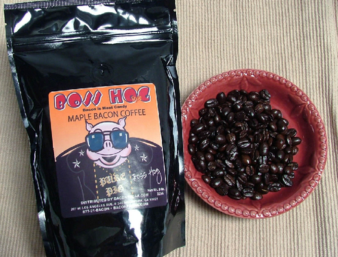 Maple Bacon Flavored Coffee - Premium Roasted Whole Beans (8 oz Bag)
