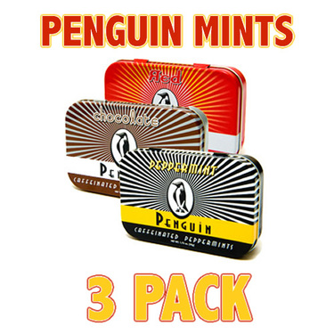 Penguin Caffeinated Energy Mints with Caffeine - Peppermint, Cinnamon & Chocolate (3 Pack)