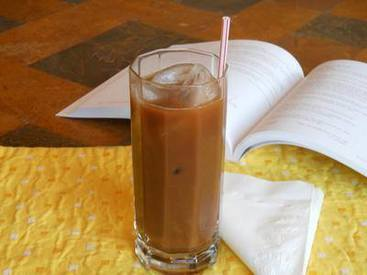 Chocolate Almond Iced Coffee with Caramel