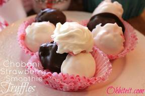 Chobani Strawberry Smoothie Truffles!