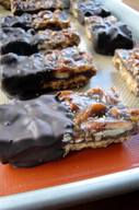 Chocolate Dipped Pecan Pie Bars!