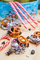 Peppermint Chocolate Coated Pretzels!