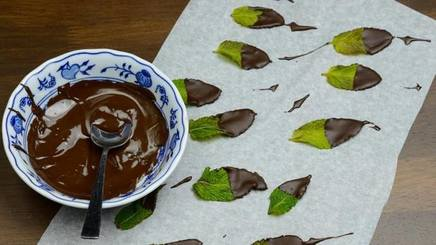 Chocolate Dipped Mint Leaves!
