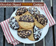 Chocolate Dipped Toffee Cookies!