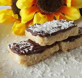 Chocolate Dipped Coconut Krispy Bars!