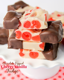 Chocolate Dipped Cherry Vanilla Fudge!
