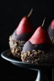 Chocolate Dipped Pears With Almond Crunch!