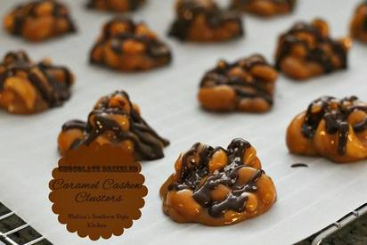 Chocolate Drizzled Caramel Cashew Clusters!