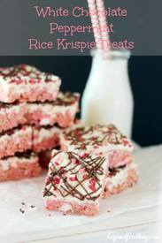 White Chocolate Peppermint Rice Krispie Treats!