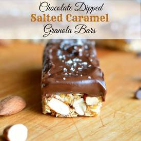 Chocolate Dipped Salted Caramel Granola Bars!