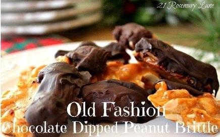 Old Fashioned Chocolate Dipped Peanut Brittle!