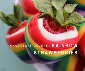 Chocolate Covered Rainbow Strawberries!