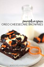 Pumpkin Spice Oreo Cheesecake Brownies!