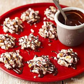 Peppermint Pretzel Candies! Homemade Candies Are A Staple At Holiday Parties And Family Gatherings. The Candies Are Made With Tempered White Chocolate, Peppermint, And Pretzels. Drizzle Dark Chocolate On Top For A Fancy Touch. Click Here For This Recipe: