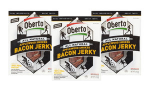 Oberto Bacon Jerky - Applewood Smoked - All Natural 100% Real Bacon Slices (3 Bags)