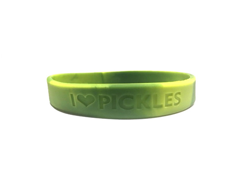 Pickle Love Wristband - I Heart Pickles - Silicone Green Wrist Band Rubber Bracelet (Lrg/XL)