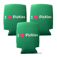 I Love (Heart) Pickles Koozie Drink Cooler - 3 Pack - Green w/ Pink Heart