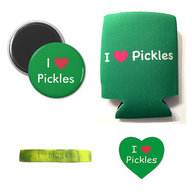 I Love Pickles Gift Pack (4pc Set) -  I Heart Pickle Koozie, Wristband, Magnet & I Love Pickles Sticker