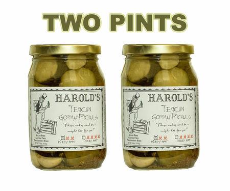 Harold's Spicy (2X Hot) Habanero Garlic Dill Pickles Purdy Hot Pickuls (2 x 16 oz Jars)