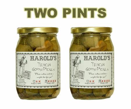 Harold's Spicy (4X Super Hot) Habanero Garlic Dill Pickles Dern Hot Pickuls (2 x 16 oz Jars)