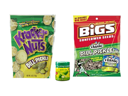 Pickle Snack Pack (3pc Set)  Dill Pickle Sunflower Seeds, Kracker Nuts Peanuts & Pickle Salt
