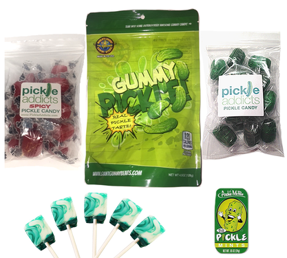 Extreme Pickle Candy Sampler Gift Pack (5pc Set) - Dill Pickles Lollipops, Pickle Mints, Original & Spicy Pickle Hard Candies & Gummy Pickle