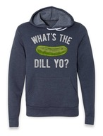 What's The Dill Yo? Hoodie - The Whiskey Pickle Hooded Sweatshirt (Heather Navy)