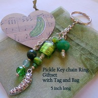 Pickle Key Chain Ring - Handmade Silver Pickle Charm Green Beads & Crystals