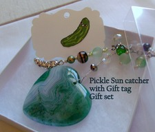 Pickle Heart Sun Catcher - Handmade Silver Pickle Charm Green Agate  & Beads Window Decoration