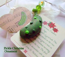 Christmas Pickle Ornament -  Legend of the Pickle Holiday Tradition - Handmade Green Polymer Clay Christmas Tree Decoration